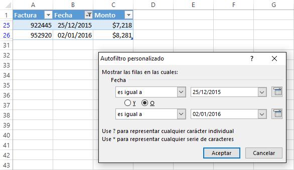 Crear filtros con fechas en Excel