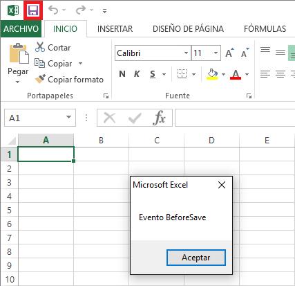 Impedir guardar libro de Excel