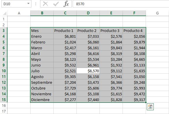 Seleccionar todas las celdas en Excel