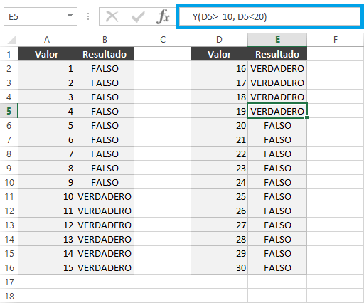 Función SI con rangos de valores en Excel