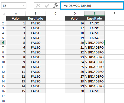 Función SI entre rangos
