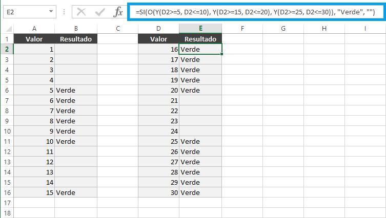 Fórmula de Excel para intervalos de valores