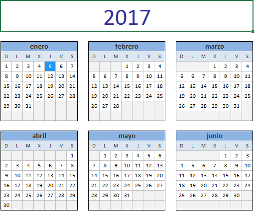 Calendario 2017 Excel domingo a sabado
