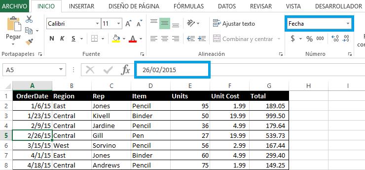 Cómo cambiar el formato de fecha americano a español en Excel