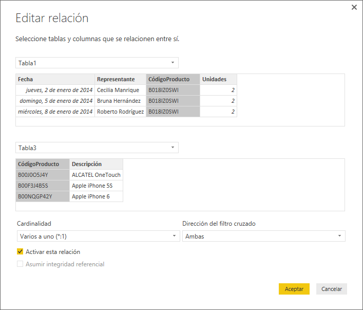 Crear relaciones con Power BI Desktop