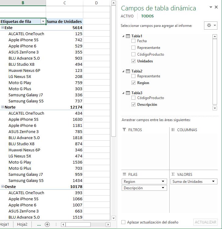 Ejemplo de Power Pivot con tablas dinámicas en Excel