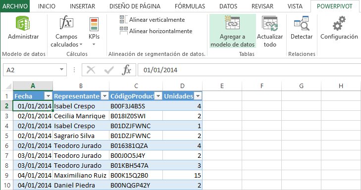Importar datos en Power Pivot