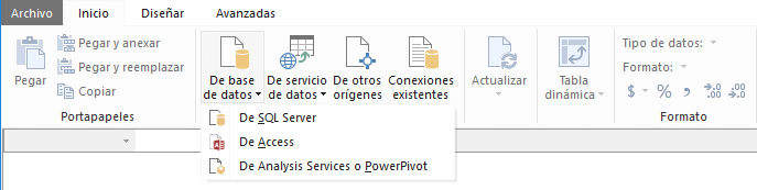 Importar base de datos desde Power Pivot