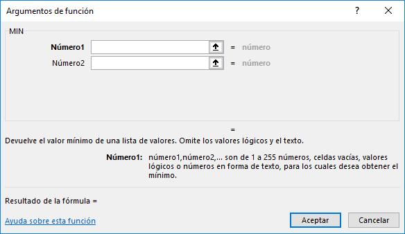La función MIN en Excel