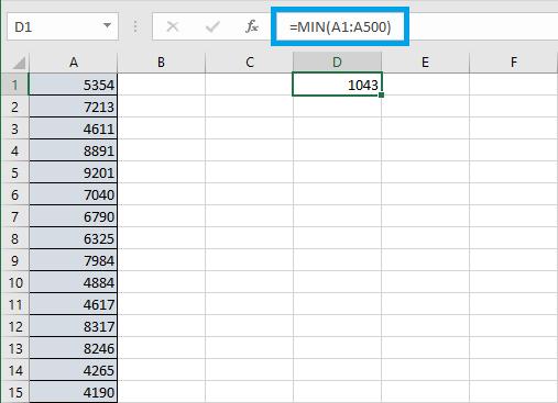 Cómo utilizar la función MIN en Excel
