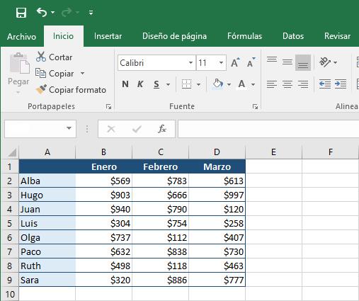 Ejemplo de la función MIN en Excel