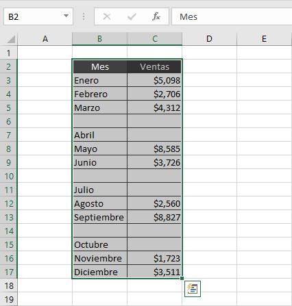 Borrar filas en blanco en Excel