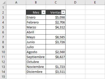 Eliminar líneas vacías en Excel