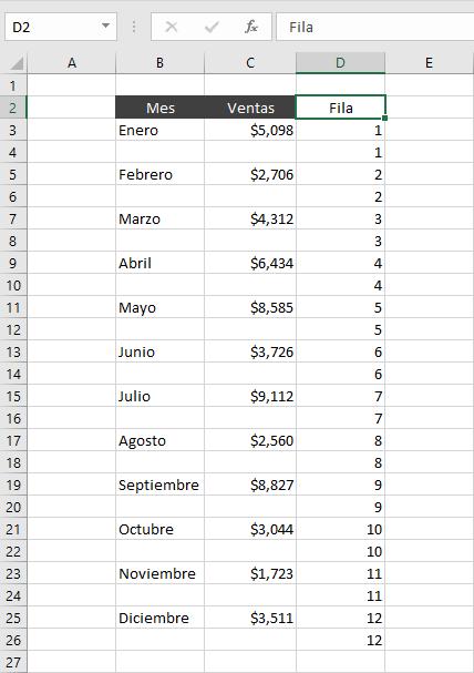 Insertar múltiples filas intercaladas en Excel