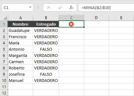 Ejercicio con la función MINA en Excel