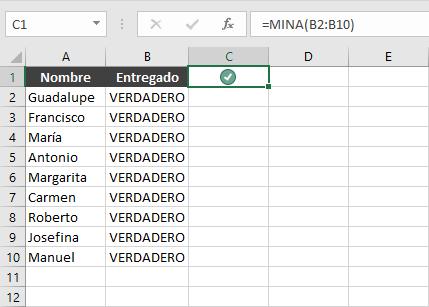 Función Excel MINA