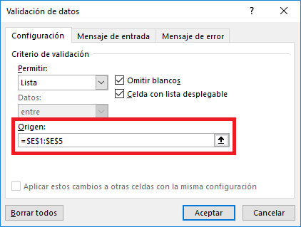 Introducir datos con listas desplegables en Excel