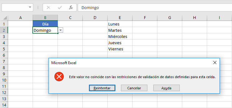 Modificar una lista desplegable en Excel