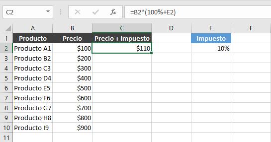 Cómo fijar una fila en una fórmula