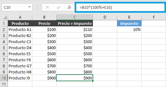 Cómo fijar una columna en una fórmula