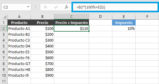 Dólares en filas y columnas de Excel