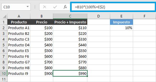 Fijar una celda en una fórmula de Excel