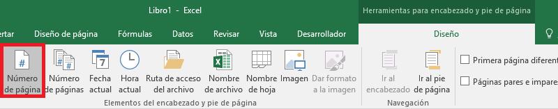 Números de página Excel