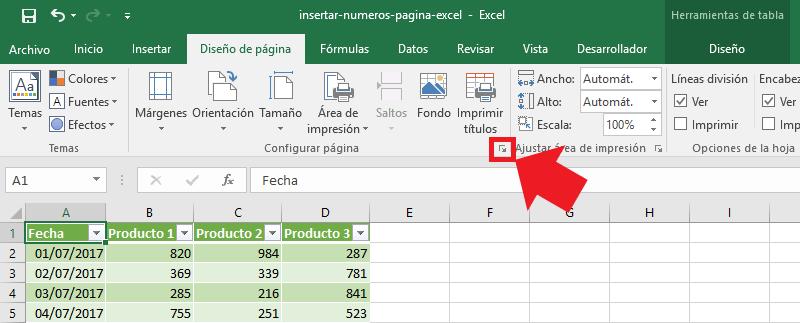Números de página en encabezado de hoja de Excel