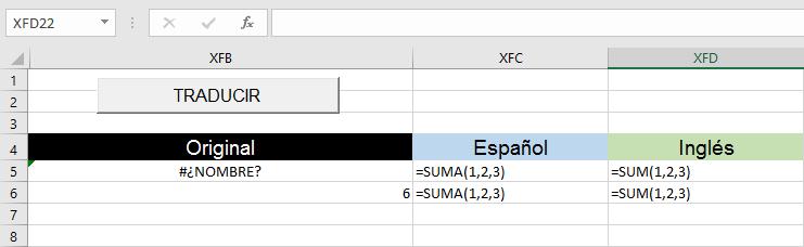Traducir fórmulas de Excel