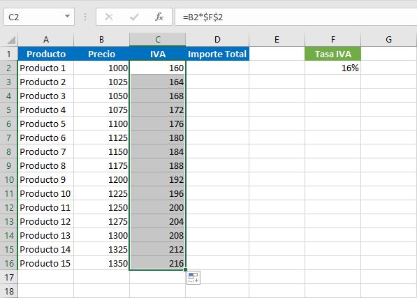Fórmula para sacar el IVA en Excel