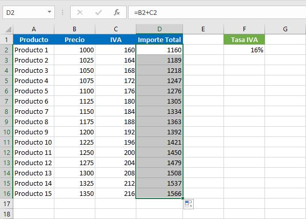 Sacar el IVA a un producto en Excel