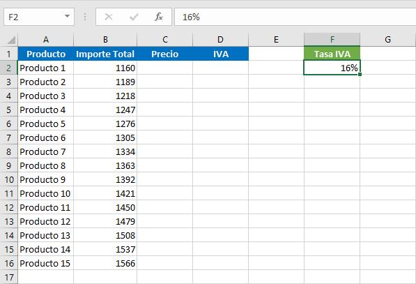 Cálculo de IVA en Excel
