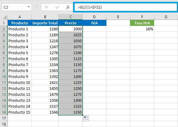 Cómo se obtiene el IVA en Excel
