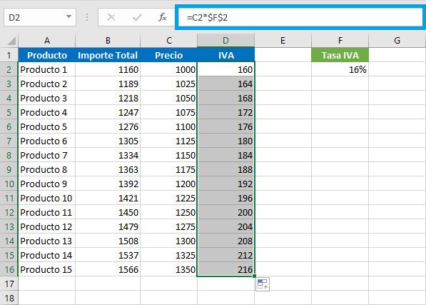 Calcular IVA en facturas con Excel