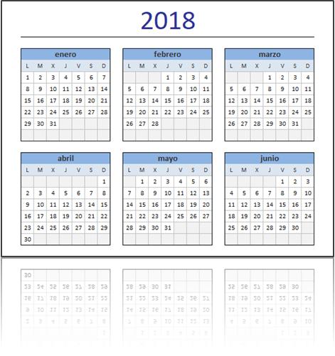 Calendario 2018 Excel Total
