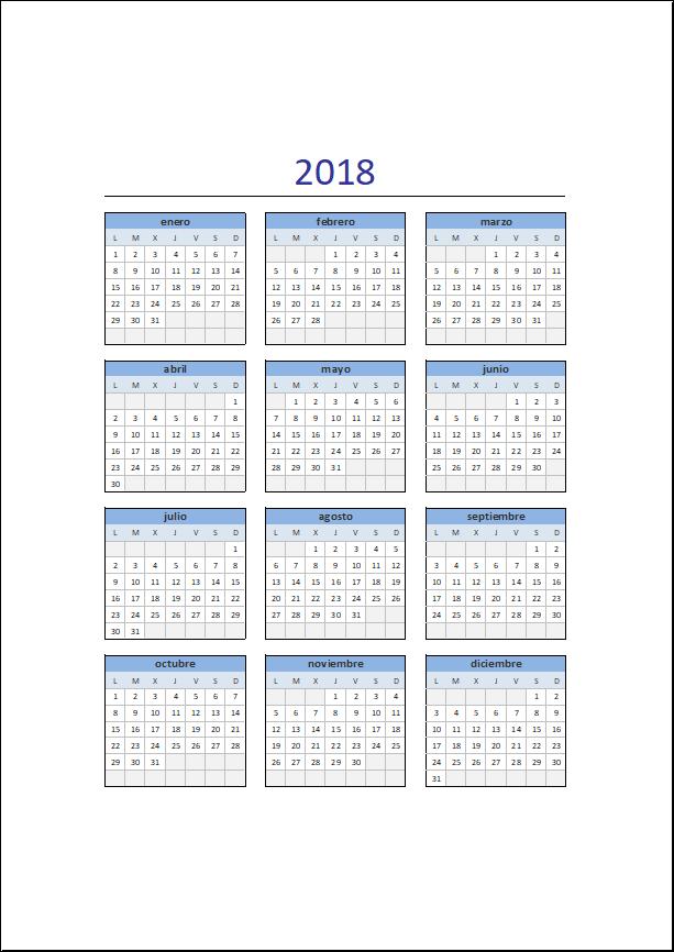 Calendario Excel 2018 gratis