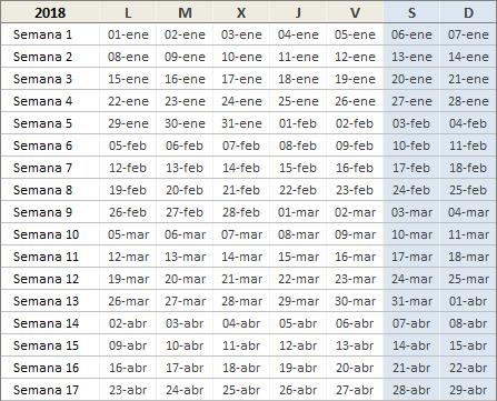 Calendario anual 2018 en Excel