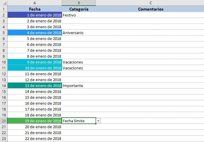 Agenda calendario 2018 en Excel gratis