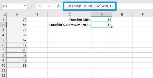Valor k-ésimo menor de un conjuto de datos