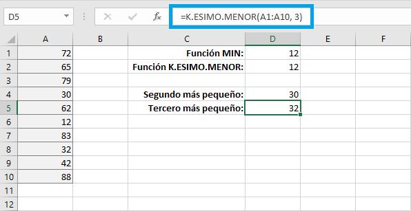Ordenar con la función K.ESIMO.MENOR