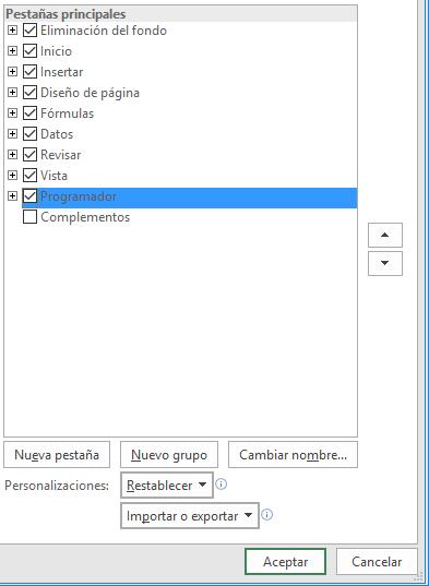 Mostrar la pestaña Desarrollador en Excel