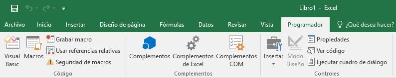 Cómo mostrar la ficha Programador en Excel