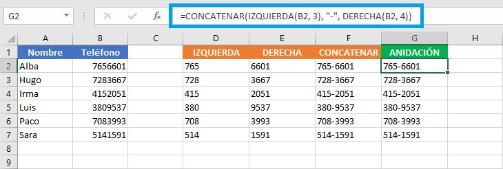 Funciones anidadas en Excel