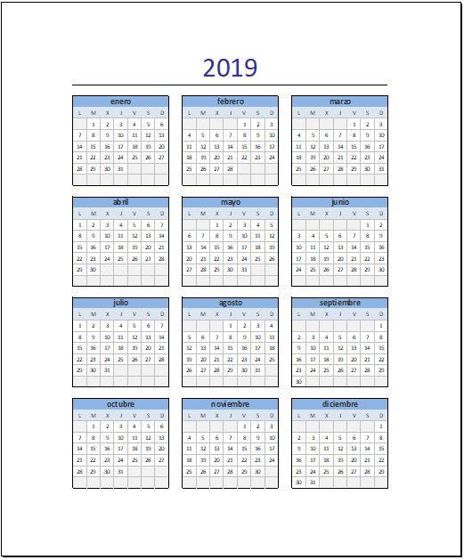 Calendario 2019 en Excel Completo