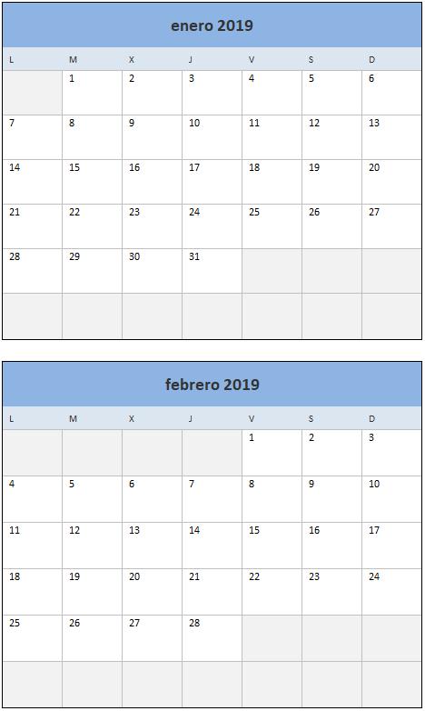 Calendario 2019 en Excel Mensual