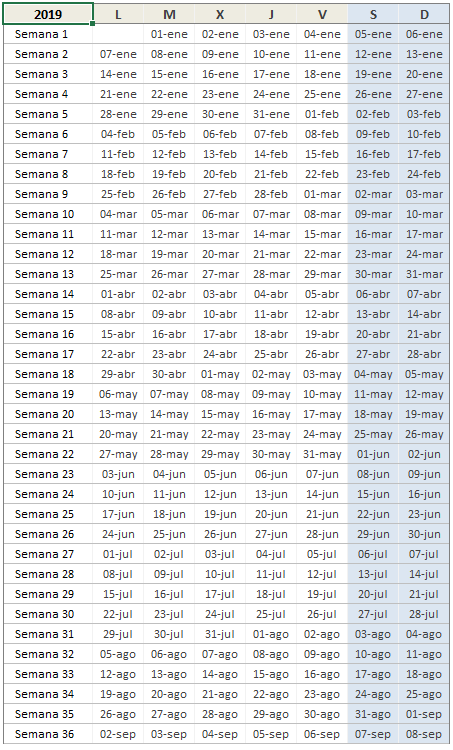 Calendario 2019 en Excel por Semanas