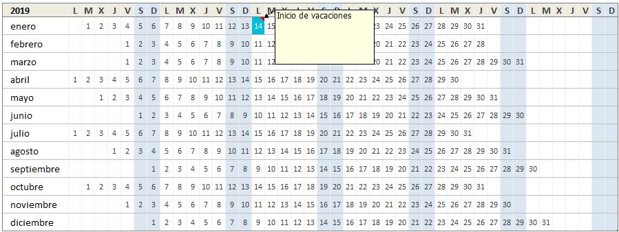Calendario 2019 en Excel con comentarios en cada día