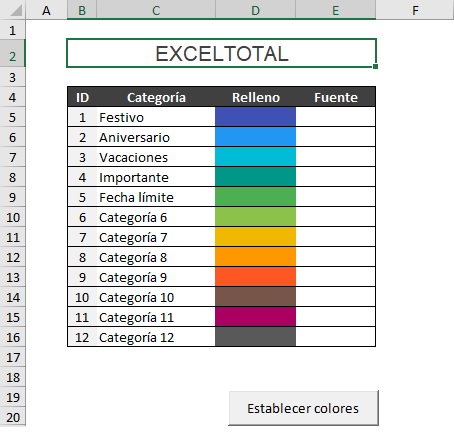 Cambiar colores en el Calendario 2019 de Excel