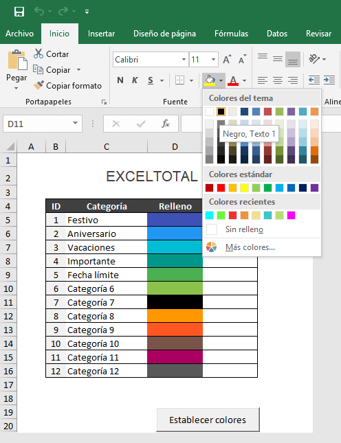 Color de relleno en el Calendario 2019 de Excel