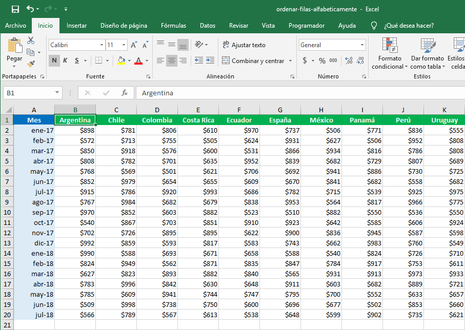 Cómo ordenar por filas en Excel